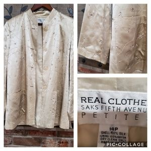 ❤️REAL CLOTHES SAKS FIFTH AVENUE Silk Jacket 14P